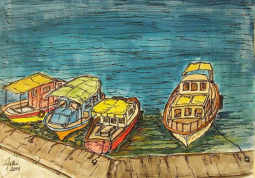 Boats in Sigacik Bay by Fethi Canbaz