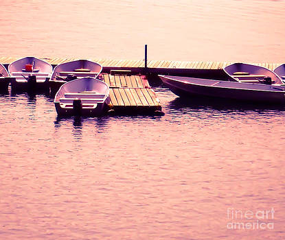 Boats on the Lake - Pink by Lori Frostad