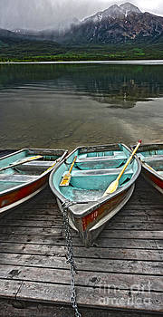 Gregory Dyer - Boats on the shore of Pyramid Lake -  Jasper National Park