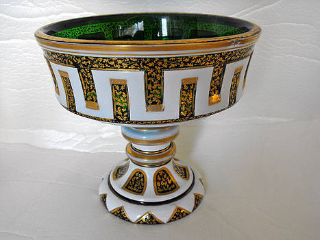 Bohemian glass pedestal bowl with intricate gilded decorations by Anonymous artist