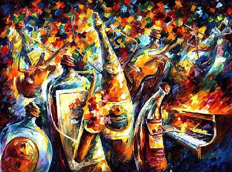 Bottle Band - PALETTE KNIFE Oil Painting On Canvas By Leonid Afremov by Leonid Afremov