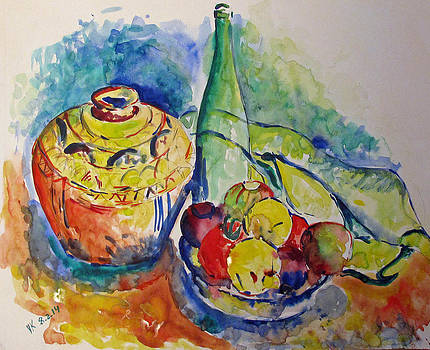 Bottle with fruits by Vladimir Kezerashvili