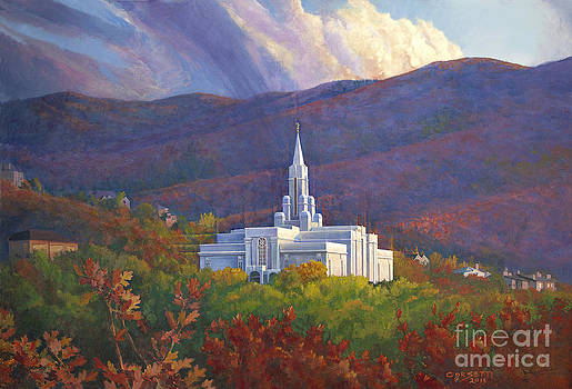 Bountiful Temple in the mountains by Rob Corsetti