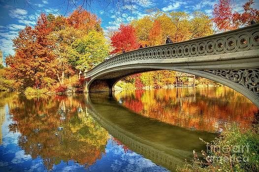 Bow Bridge Autumn Reflections by Daniel Portalatin Photography