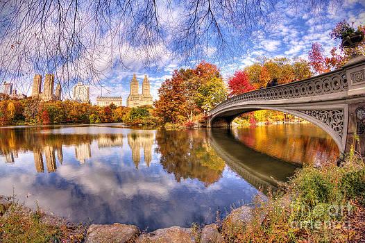 Bow Bridge Autumn Scene by Daniel Portalatin Photography