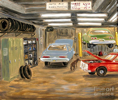 Bowery Garage With Doberman by Arthur Robins