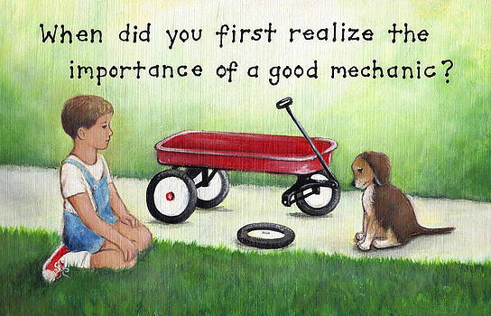 Boy and Dog with Broken Red Wagon by Theresa Stites