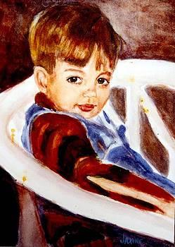 Boy In white chair by JAXINE Cummins