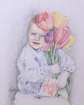 Boy with Tulips by Kathy Weidner