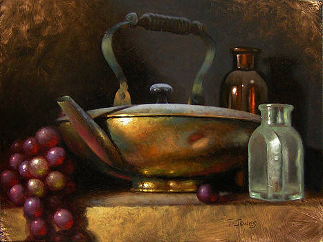 Brass Teapot and Antique Glass by Timothy Jones