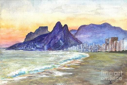 Sugarloaf Mountain and Ipanema Beach at Sunset by Carol Wisniewski
