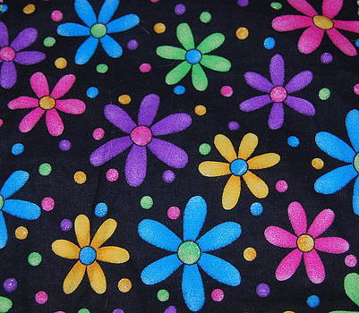 Bright flowers and dots on black by Photos by Staci Art by Douglas