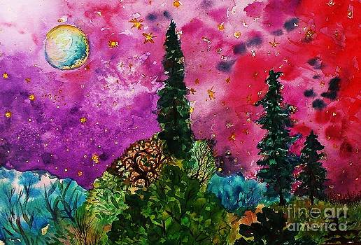Bright Full Moon Forest by Emily Michaud