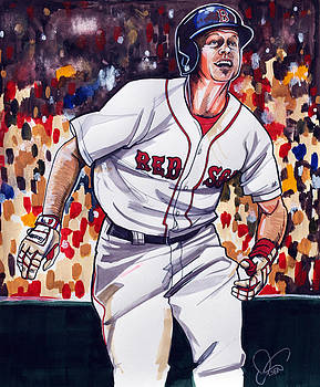 Brock Holt of the Boston Red Sox by Dave Olsen
