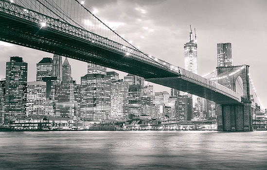 Brooklyn Bridge and New York City Skyline at Night by Vivienne Gucwa