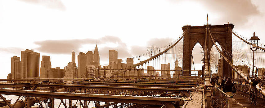 Brooklyn Bridge in sepia by Paul Van Baardwijk
