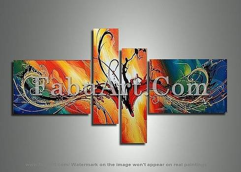 Brown Abstract Art Painting 262 - 62 x 30in by FabuArt