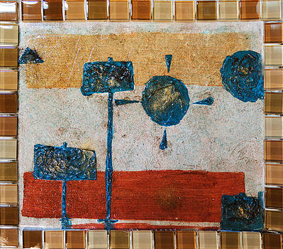 Brown and Teal Geometric Abstract with Texture glass and gold flakes by MendyZ