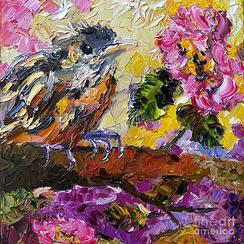 Ginette Callaway - Brown Thrasher Baby Bird by Roses
