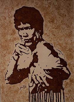 Bruce Lee original coffee painting by Georgeta Blanaru