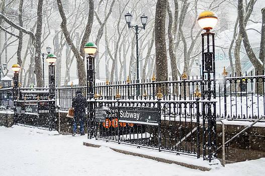 Bryant Park Subway Snow by Andrew Kazmierski
