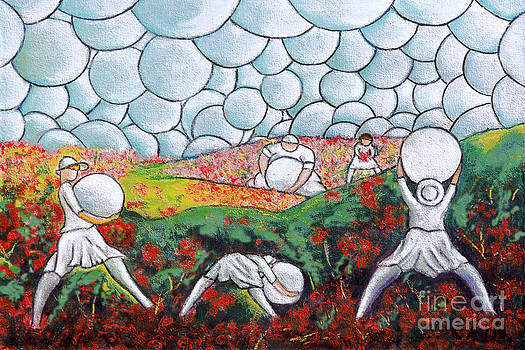 Bubble Sky And Flower Fields by William Cain