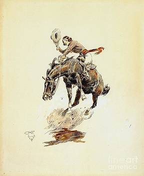 REPRODUCTION - Bucking Horse and Cowgirl