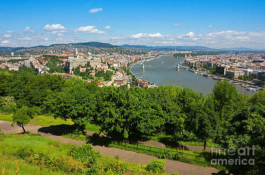 Budapest Panoramic view from The Gellert Hill with Danube river by Kiril Stanchev