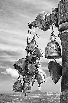 Buddhist bells black and white by Skyfish Images