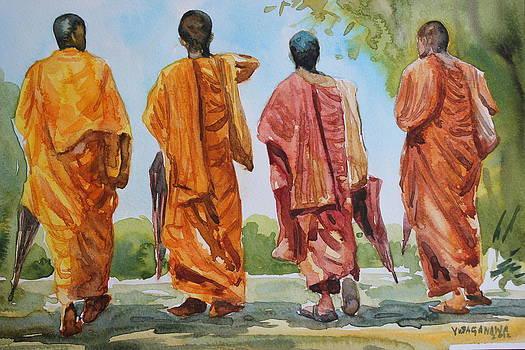 Buddist Monks by Rohitha Yudaganawa