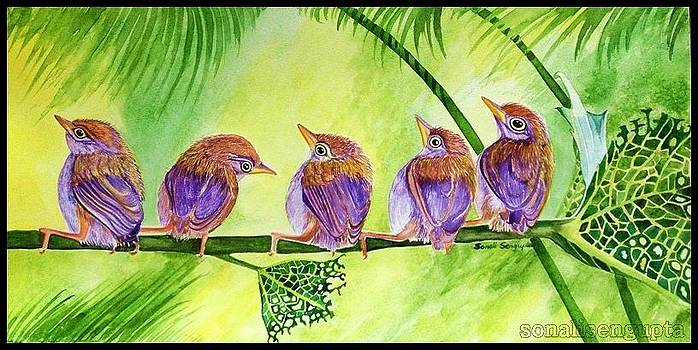 Bug Eaten Leaf and Five Friends by Sonali Sengupta