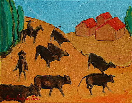 Bulls on the Run with Two Riders 2 by Thomas Bertram POOLE