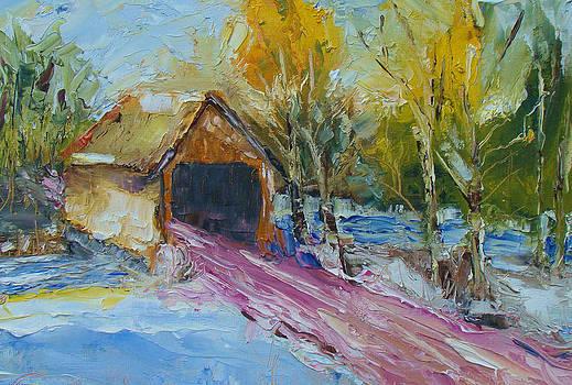 Bunker Hill Covered Bridge- Palette Knife Oil Painting By Award Winning Artist Joe Byrd by Joe Byrd