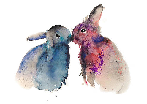 Bunnies in love by Kristina Bros