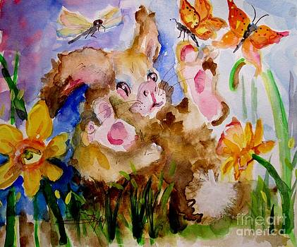 Bunny and Butterflies by Delilah  Smith