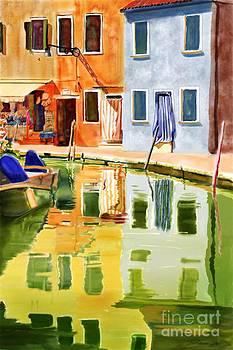 Burano Reflections by Joan A Hamilton