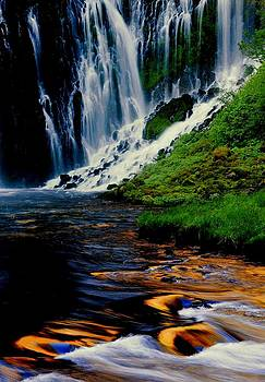 Burney Falls sunrise reflection by Jetson Nguyen