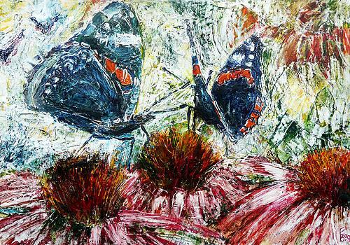 Butterflies On A Flowering Shrub by Florin Birjoveanu