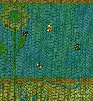 Liane Wright - Butterflies on Mesh Net - Floral Design