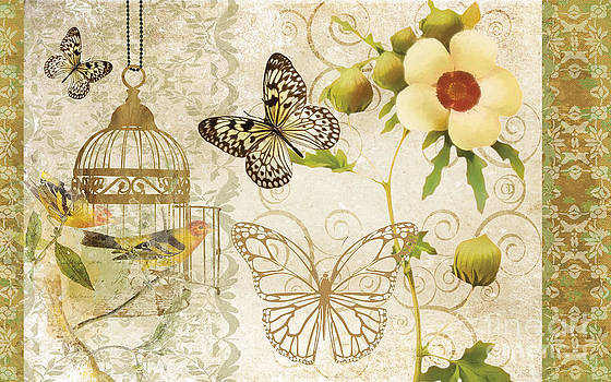 Butterfly Green Collage by Grace Pullen