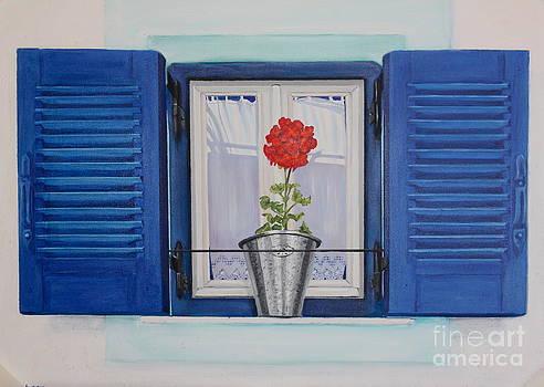 Byrons Blue Shutters by Yvonne Ayoub