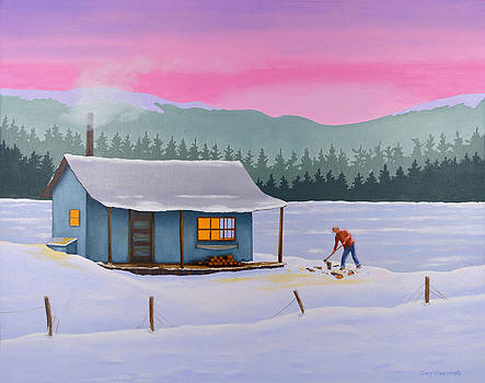 Cabin on a frozen lake by Gary Giacomelli