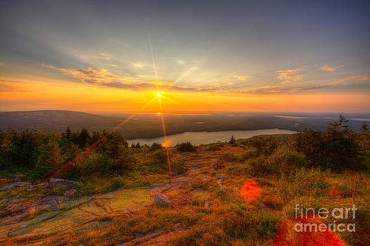 Cadillac Mountain Sunset Acadia National Park Bar Harbor Maine by Wayne Moran