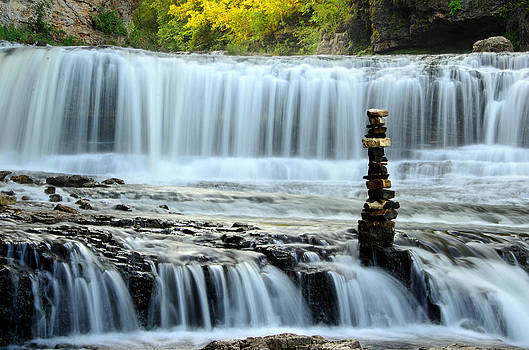Cairn at Falls 1 by Brian Kristoph