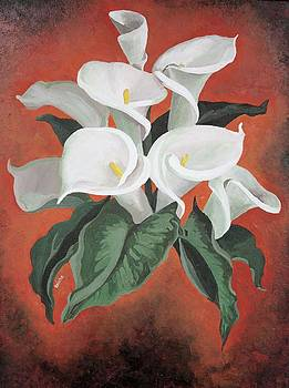 Tracey Harrington-Simpson - Calla Lilies On A Red Background