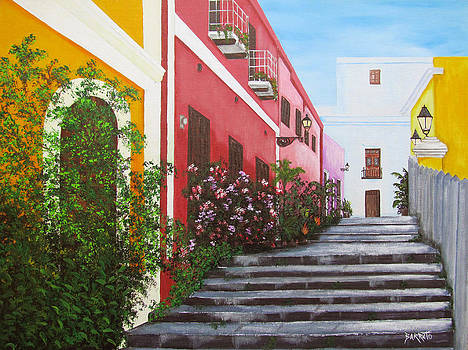 Callejon En El Viejo San Juan by Gloria E Barreto-Rodriguez