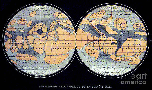 Science Source - Camille Flammarion Mars Map 1876
