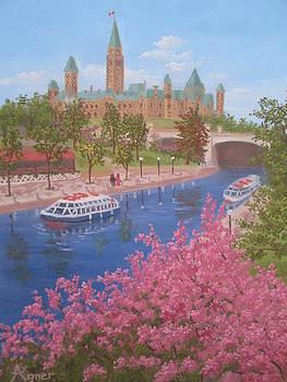 Canal Spring Blossoms by Darlene Agner