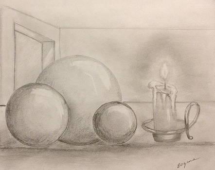 Candle and balls by Bozena Zajaczkowska