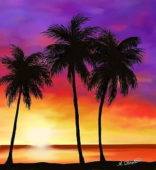 Sunset on a Palm Beach by Amy Scholten